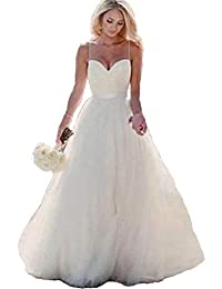 Long Strapless Wedding Dress Sweetheart A-Line Tulle Bridal Gown with Lace Up