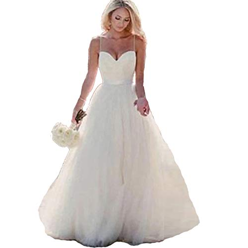 HDSLP Long Strapless Wedding Dress Sweetheart A-Line Tulle Bridal Gown with Lace Up Ivory 10