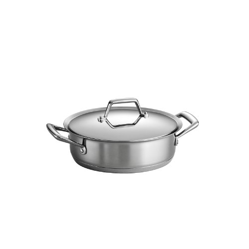Tri Ply Bakeware - Tramontina 80101/003DS Gourmet Prima Stainless Steel, Induction-Ready, Impact Bonded, Tri-Ply Base Covered Casserole, 3 Quart, Made in Brazil