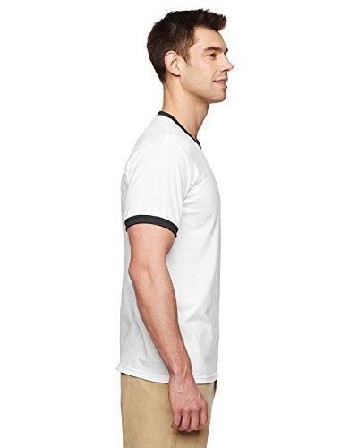 Gildan Dryblend Adult Ringer T-Shirt, Wht/Blk, (Wholesale Ringer T-shirts)