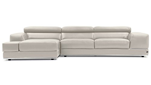 Amazon Com Zuri Furniture Encore Light Gray Leather Sofa Left