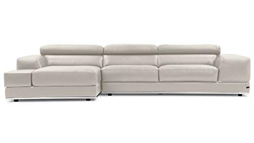 Zuri Furniture Encore Light Gray Leather Sofa - Left Chaise