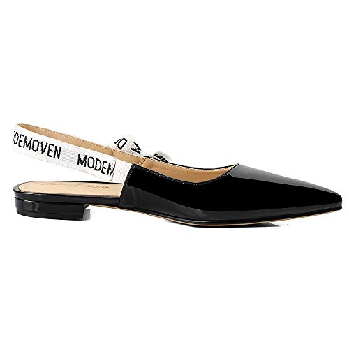 Leather Shoes Back Sling Patent Mules Flat Women's Slip Sexy Black for Modemoven Pumps On Loafers Women Ballet tw8Iq