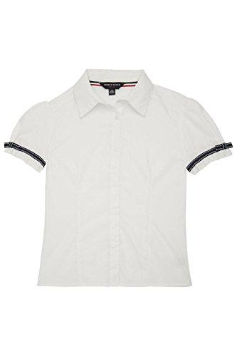 Short Sleeve Girls Blouse (French Toast Big Girls' Short Sleeve Ribbon Bow Blouse, White, 16)