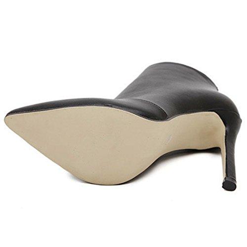 Puntera Punta de Simple Bota Alto Azbro de Negro Color Tacón Tobillo Mujer 6HqtFnA