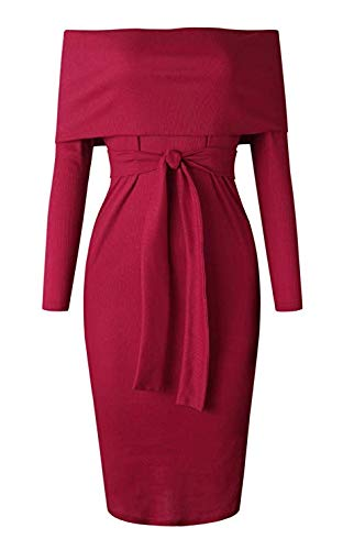ALAIX-Womens-Sexy-Off-Shoulder-Long-Sleeve-Bodycon-Midi-Knit-Cocktail-Evening-Sweater-Dress-with-Belt