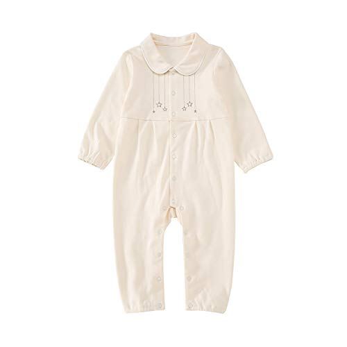 Footless Romper - pureborn Baby Jumpsuit Footless Sleep and Play Long Sleeve Coverall 100% Cotton One-Piece Beige 9-12 Months