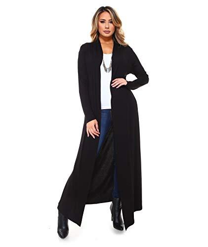 - Isaac Liev Women's Super Long Flowy Floor Length Cardigan Duster (Small, Black)