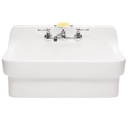 American Standard 9061.193.020 Plaster Work Sink with 8-Inch Faucet Spacing, High Backsplash and Wall Hanger, White by American Standard
