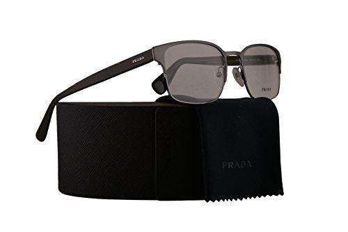 Prada PR64RV Eyeglasses 55-19-145 Matte Gunmetal Gray w/Demo Clear Lens 7CQ1O1 VPR64R VPR 64R PR - Guarantee Prada