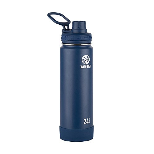(Takeya Actives Insulated Stainless Water Bottle with Insulated Spout Lid, 24oz, Midnight)