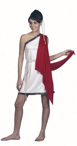 Toga Lady Costumes (Bristol Novelty White/Red Toga. Ladies Adult Costume - Women's - One Size)