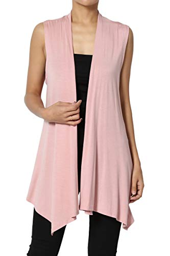 TheMogan Women's Sleeveless Waterfall Jersey Cardigan Asymmetric Vest Dusty Rose ()
