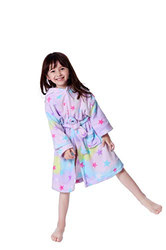 Lantop Kids Soft Bathrobe Comfy Unicorn Flannel Robe Unisex Hooded Gift All Seasons Sleepwear