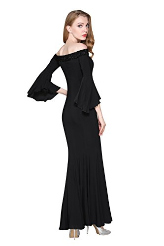Shoulder Prom Gowns Dresses Crystal Women's Evening V Formal Cold Neck Black ChengDeYou Beaded Long Ya1fq0