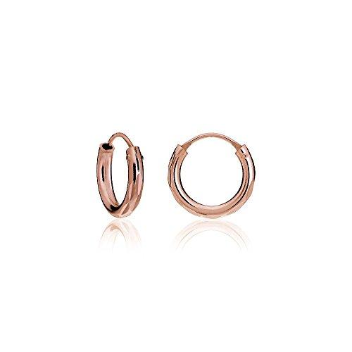 18k Gold Loop (Hoops & Loops 18K Rose Gold Flash Sterling Silver 2mm Diamond-Cut Endless Hoop Earrings, 12mm)