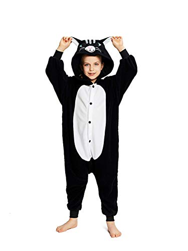 CANASOUR Unisex Halloween Kids Unisex Onesie Party Children Cosplay Pyjamas (125#(Size 10), Black Cat)]()