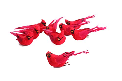 (Factory Direct Craft Package of 12- Artificial Bright Red Sitting Cardinal Mushroom Birds for Crafting, Floral Arranging, and)