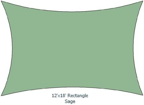 12'x18' Sage Color Rectangle Premium Quality Sun Shade Sail Made