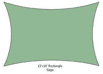 12 x18 Sage Color Rectangle Premium Quality Sun Shade Sail Made in USA