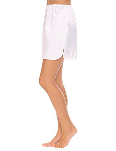 Gathered Waist Mini Skirt (Goldenfox Satin Underskirt Lingerie Women Comfy Half Slip Nighties (White, Small))