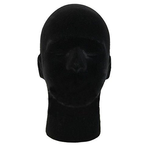 Ownsig Male Useful Styrofoam Foam Mannequin Head Model Wigs Glasses Hat Display Stand Black (Stand Display Mask)