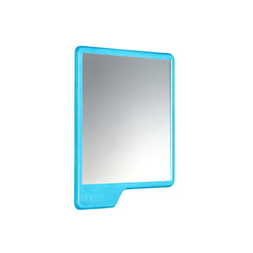 Tooletries - The Oliver (Blue) Silicone Waterproof Mighty Mirror, Silicone Toiletry Organizer, Shower And Bathroom. Features Silicone Grip Technology, Shower Mirror.
