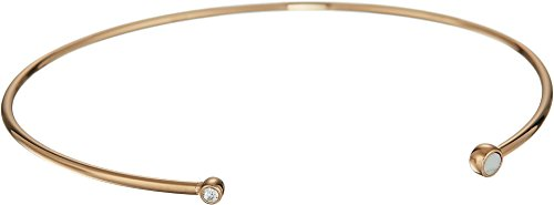 Fossil Women's Triangle Howlite Open Cuff Bracelet Rose Gold One Size Fossil Womens Charm