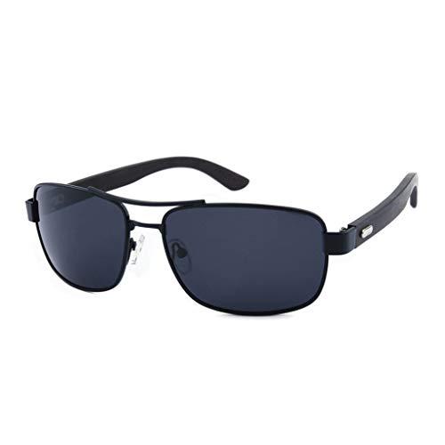 de Unisex Gafas bambú polarizadas del metálico clásicas Gray de sol Gray bambú Gafas Gafas Color Marco conducción Hgq1SSw