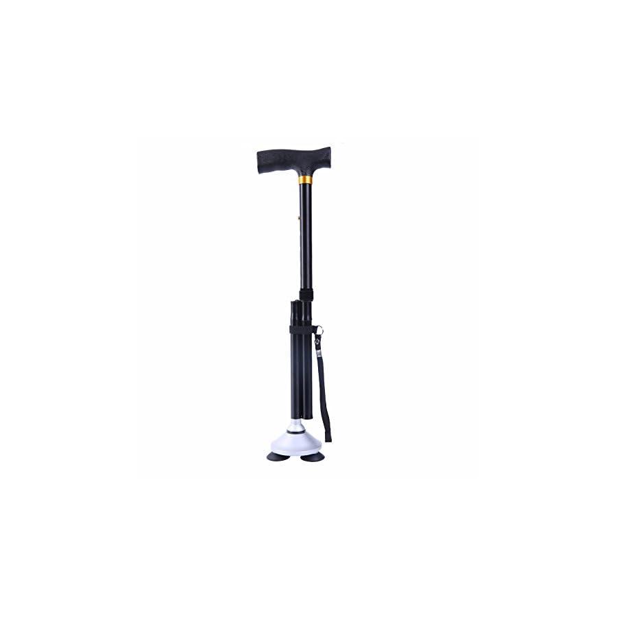 Dubulu Walking cane / Folding Cane for Men & Women with T Handle,Walking Stick Weight 1.2 Pounds ,Folding Length 11. 8 Inches Max Weight Capacity 360 Pounds Original Black