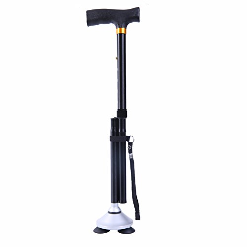 Dubulu Walking cane / Folding Cane for Men & Women with T Handle,Walking Stick Weight 1.2 Pounds ,Folding Length 11. 8 Inches Max Weight Capacity 360 Pounds Original Black