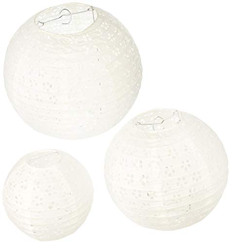 Darice DT814 David Tutera 3-Piece Lace Look Paper Lanterns, 6/8/10-Inch, White -
