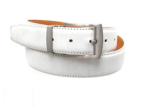 RDumani Men's Belts Faux Suede leather Belts White 35 mm 38inch Up to 60
