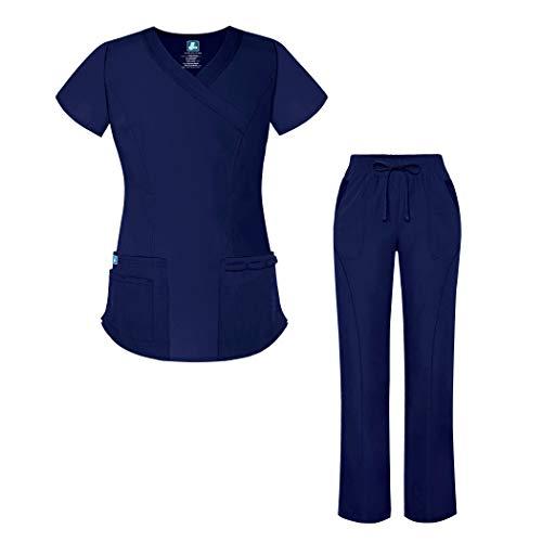 Adar Universal Women's Scrub Set - Mock Wrap Scrub Top and Straight Leg Scrub Pants - 905 - Navy - XL ()