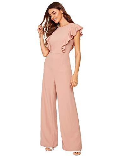 (Romwe Women's Sexy Casual Sleeveless Ruffle Trim Wide Leg High Waist Long Jumpsuit (X-Large = US 12, Pink))