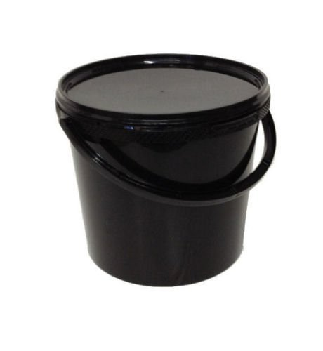 Black 5 x 5 L, Ltr, Litre Plastic Buckets with Lids RPC
