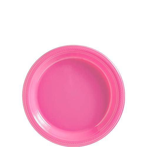 Amscan Bright Pink Plastic Plate Big Party Pack, 50 Ct. -