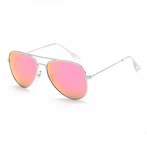 Pink Mirrored Aviator Sunglasses Polarized Lens Metal Sunglasses For - Mirrored Pink Aviators