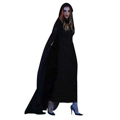 Witch Halloween Cosplay Party Costume Set, Franterd Women Black Long Dress + Cloak +Gloves (2XL, (Halloween Costumes Female Ideas)