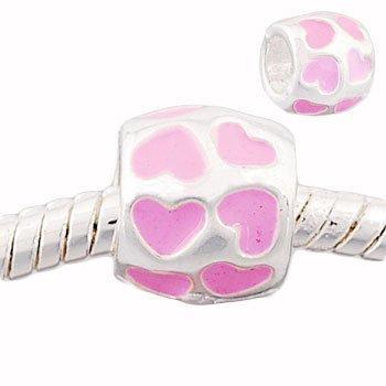 Andante-Stones 925 perle Bead Argent avec cœurs roses Élément bille pour perles European Beads + Étui en organza
