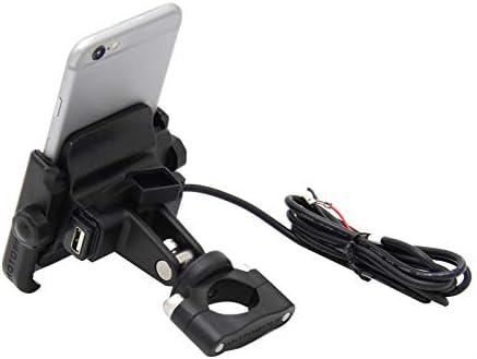 Semoic オートバイ充電器、電話ホルダーユニバーサル、12V防水USB充電ホルダー、調整できるな電話ホルダー、用(ブラック)
