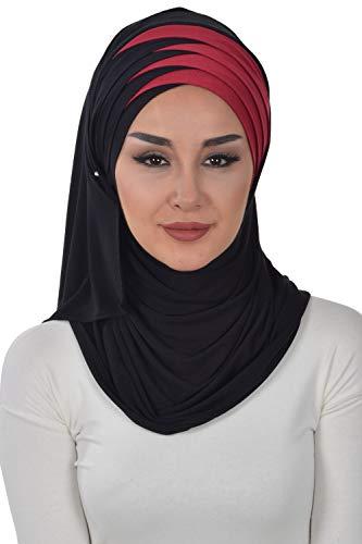 Jersey Shawl for Women Cotton Wrap Modesty Turban Cap Scarf Black-Maroon (Hijab Scarf For)