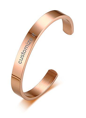 PJ Jewelry Free Engraving-Unisex Stainless Steel Personalized Custom Plain Polished Cuff Bangle Bracelet,rose gold