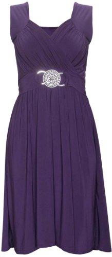 Purple Hanger - Femmes - Robe cocktail sans manches extensible attache au dos ceinture boucle grande taille Pourpre