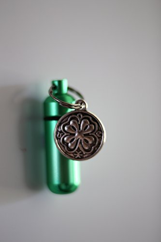 Cremation Urn Keepsake Necklace or key chain with Shamrock Four Leaf Clover Charm - Includes 24