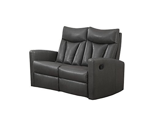 Monarch Specialties I 87GY-2 Reclining Love Seat in Charcoal Grey Bonded Leather