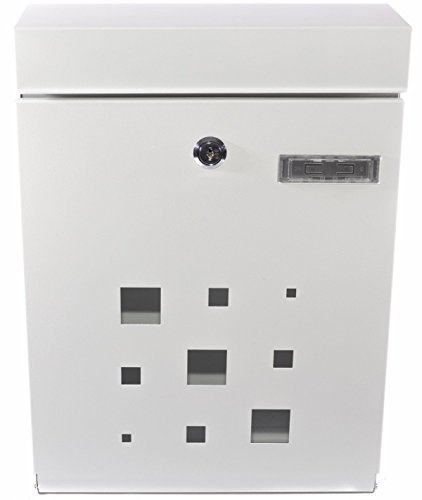 PEELCO Modern Rust & Weather Proof Vertical Wall Mount Locking Mailboxes with Unique Mailbox Key, White
