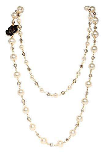 Fashion Jewelry Long Black Rose Faux Imitation Pearl Bridal Necklace For Women - Chanel Pearl Necklace