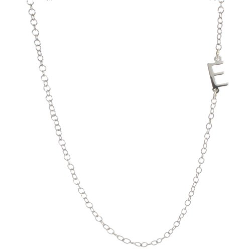 Deidreamers Sterling Silver Side Mini Initial Necklace E Initials Silver Jewelry Box