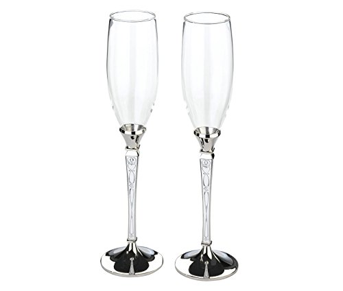 Lillian Rose Retro Vintage Silver Wedding Toasting Glasses